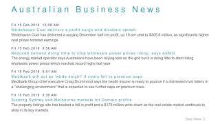 Business News Headlines for 15 Feb 2019 - 1 PM Edition