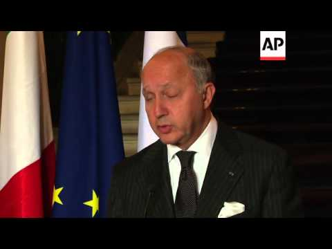 French FM Fabius comments on Ukraine and Iran nuclear talks; meets his Italian counterpart