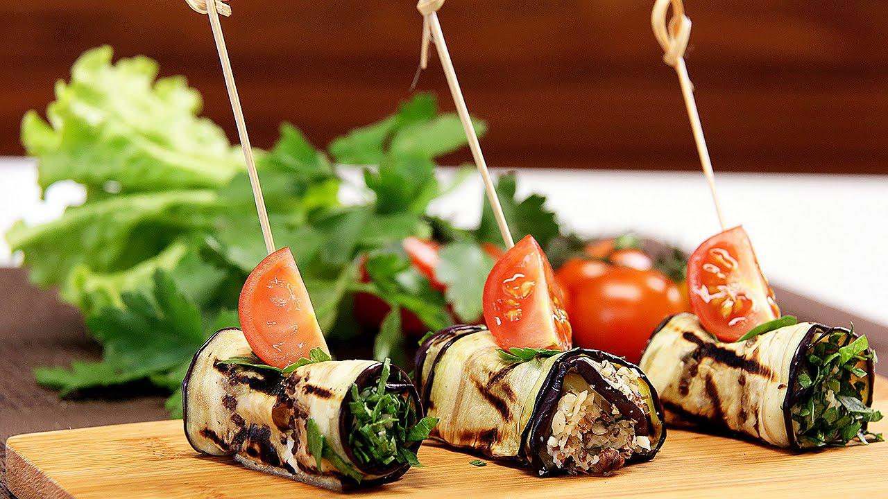 Рулетики из баклажанов с сыром и чесноком и грецкими орехами рецепт