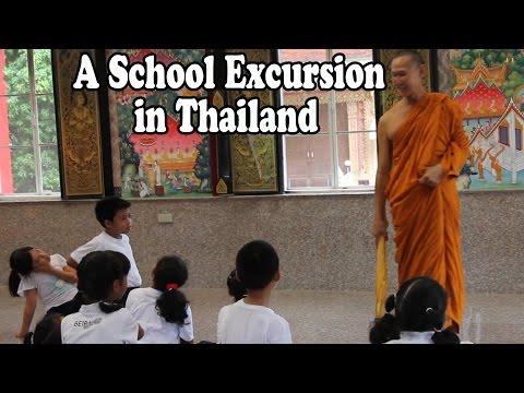 School Excursion to a Buddhist Temple in Thailand. Thai Buddhism: Thai Culture