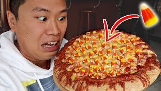 TASTING DISGUSTING CANDY CORN PIZZA!
