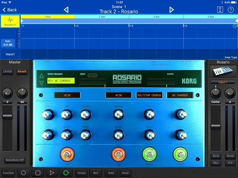 KORG Gadget ROSARIO Guitar Effects Processor Demo For IPad