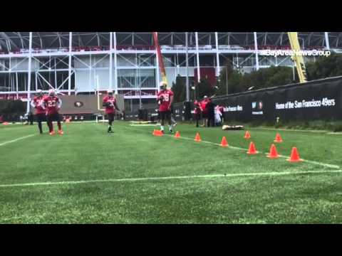 Reggie Bush leads #49ers running backs through cone drill at OTAs