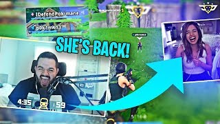 POKIMANE RETURNS TO FORTNITE?! COURAGE DEFENDS HER HONOR! (Fortnite: Battle Royale)