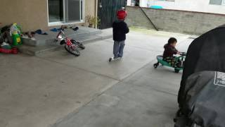Ashton learned how to ride scooter