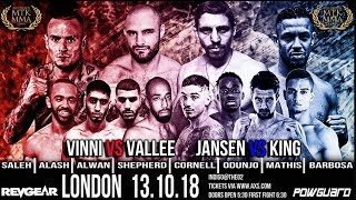 MTK GLOBAL PRESENTS - *MTK MMA* - LIVE SHOW FROM 02 INDIGO - SATURDAY 13th OCTOBER 2018
