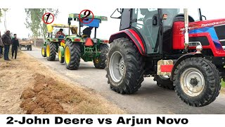 2 John Deere vs Arjun Novo friendly tractor tochan