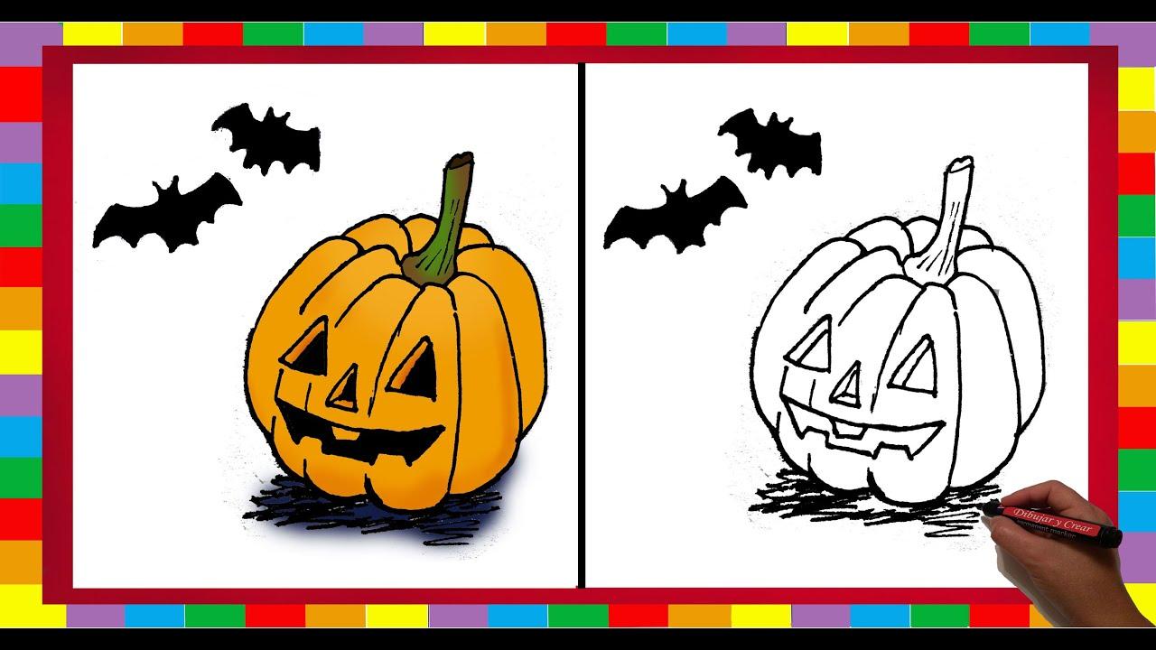 Como dibujar una calabaza de halloween youtube - Como vaciar una calabaza ...