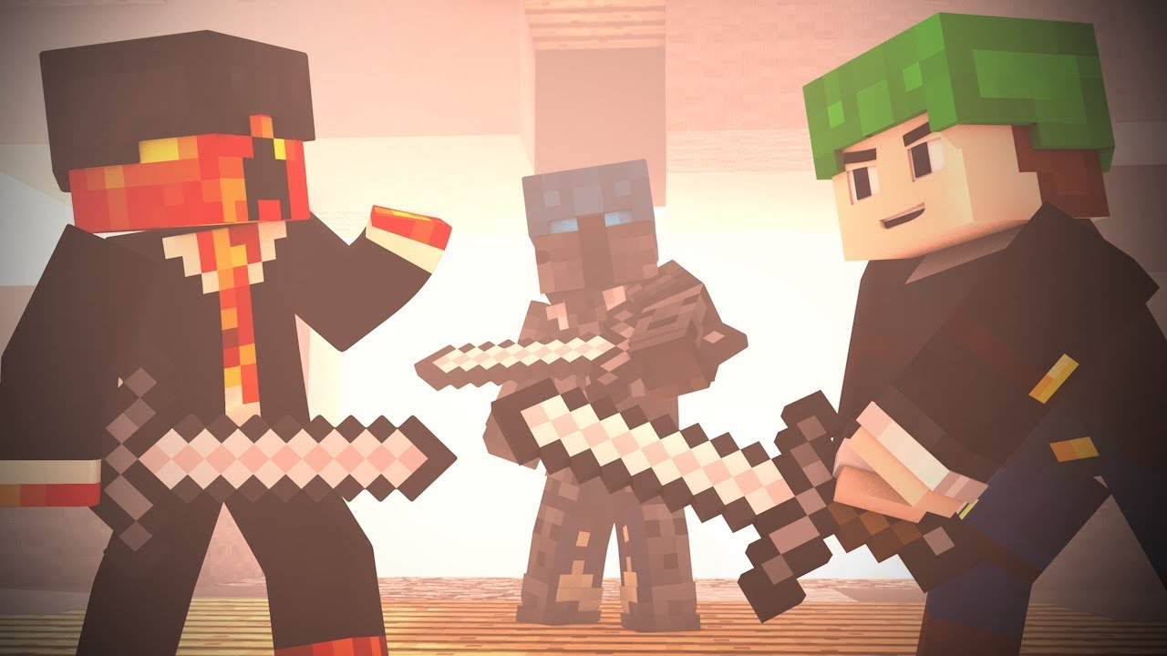 BED WARS : FULL Fight Animation Ft. DanTDM , PrestonPlays, PopularMMOS (Minecraft Animation)