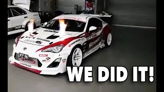 WE DID IT! WTF86: Toyota 86 with 4.1L R35 GTR engine kills dyno, makes flames & smashes power goals!