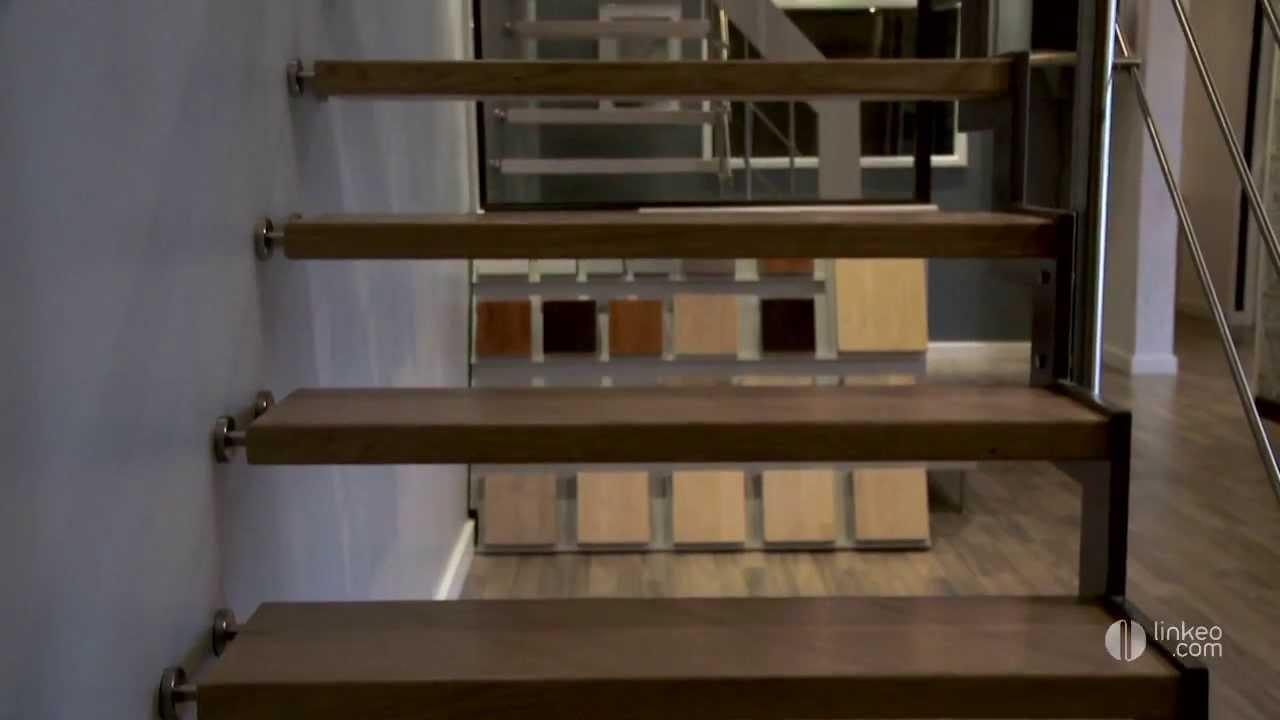 Conception fabrication et pose d 39 escalier bois m talique suspendu ma - Escalier suspendu bois ...