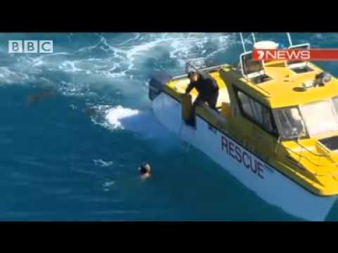 Man rescued from circling shark after boat accident