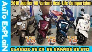 2018 TVS Jupiter STD VS ZX VS Grande VS Classic Real-Life Comparision