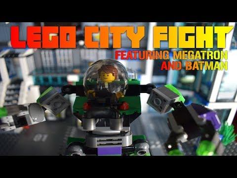 LEGO STOP-MOTION   LEGO CITY MECH FIGHT (Ft. Megatron & Batman)