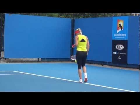 Caroline Wozniacki Practice - Australian Open 2012