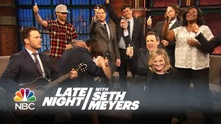 """The Parks and Recreation Cast Sings """"Bye, Bye Li'l Sebastian"""" - Late Night with Seth Meyers"""