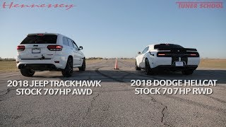 Hellcat Jeep vs Hellcat Challenger Widebody Street Drag Race