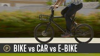 Bike vs Car vs E-Bike // Which is Faster?