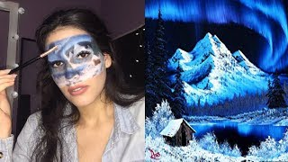 RECREATING A BOB ROSS PAINTING ON MY FACE