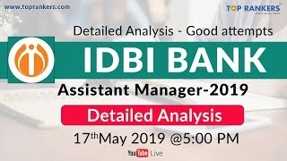 Exam Analysis IDBI Assistant Manager 2019 | Paper pattern | Good Attempts | Cut off | by Nitesh sir
