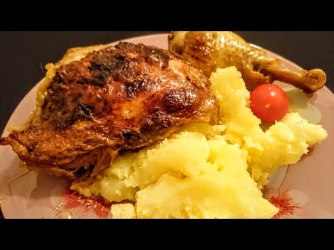 Курица запеченная в духовке Рецепт блюда из курицы в сметане приготовить ужин дома быстро вкусно