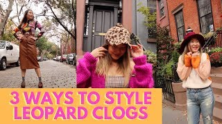 3 Ways to Style Leopard Print Shoes | Leopard Print Clogs Outfit Ideas | Fall Lookbook