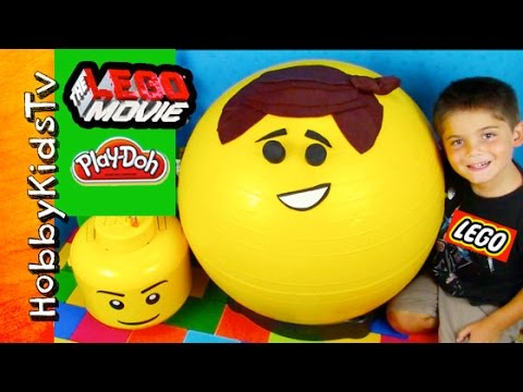 GIANT Emmet Play-Doh Head Surprise on HobbyKidsTV