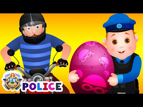 ChuChu TV Police Chase Thief in Police Helicopter & Save Pet Animals in Giant Surprise Eggs for Kids