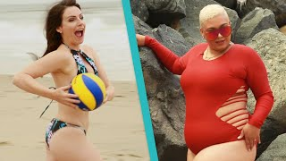 Women Try Amazon Swimsuits At The Beach