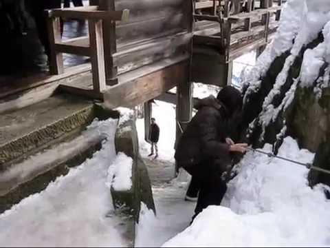 山寺参道 冬景色 [ Yamadera Temple (rissyaku-ji)  Snow Scean ] video