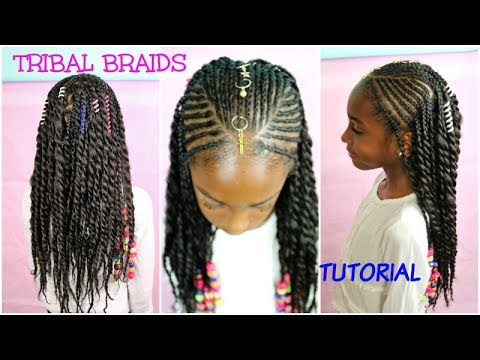 kids natural hair styles | tribal braids & beads tutorial