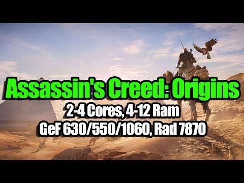 Assassin's Creed: Origins на слабом ПК (2-4 Cores, 4-12 Ram, GeF 630/550/1060, Rad 7870)