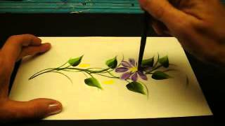 One Stroke Painted Vines and Daisys  By DJ Creations   YouTube2
