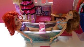 Bồn Tắm Mới Của Búp Bê Barbie, Barbie& Ariel Tắm Bồn/ Barbie Doll Take a Bath Barbie's New Bathtub