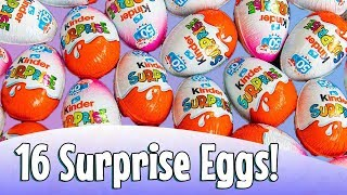 Surprise Eggs Review Party! | 16 Surprise Eggs Opening and Toys Review