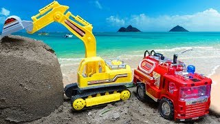 🚚 Excavator and fire trucks look for cars in the sand 🚚 A778P Toys for kids 🚚