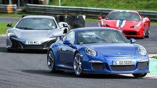 Porsche 911 GT3 vs Ferrari 458 Speciale vs McLaren 650S - supercar showdown