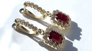 Estate Genuine Natural Red Ruby's Diamond 14kt Solid Yellow Gold Dangle Earrings