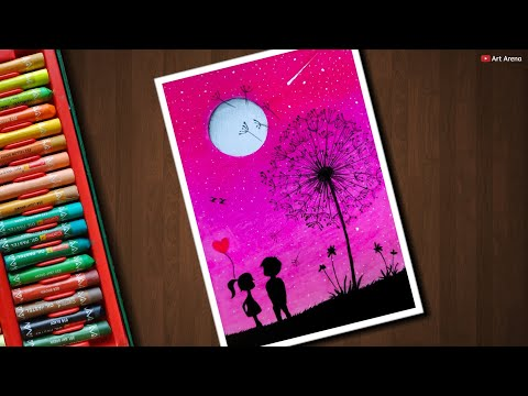 Dream Couple Scenery with Oil Pastels for beginners - step by step