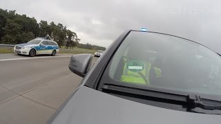 Unmarked Police car running code 3 on German Autobahn - Rettungsgasse - GoPro POV Dashcam