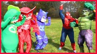 PJ Masks Heroes In Real Life Turns Into Batman Smurfs Boss Baby Villain Steals Hero IRL