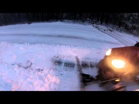 Lawn Tractor Snow Plowing in Winter Storm Nemo