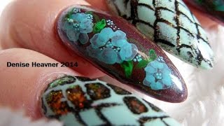 HOW TO : PAINT  Snake Skin & Flowers Nails using Water Color Paints
