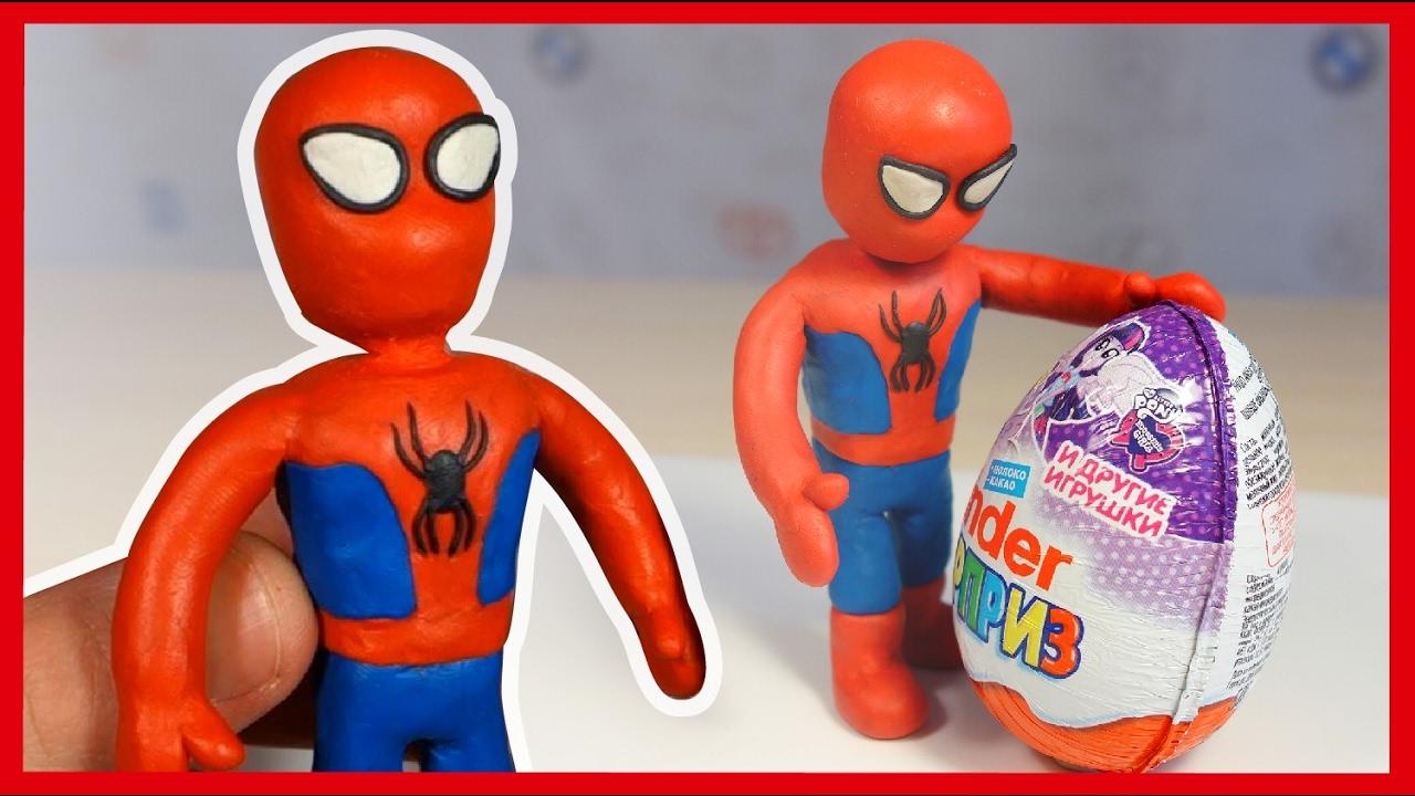 Как сделать человек паук из пластилина видео