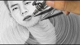 Portrait Drawing  with a Compass  - DP Truong