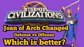 Rise of Civilizations - New Joan of Arc! Defense vs Offense. Which is better? Talent 2.0 Guide