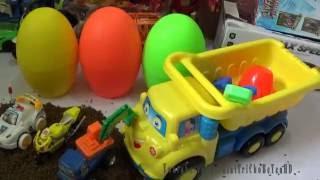 Đồ chơi xe chở cát chở trứng khủng long xe cảnh sát xe máy xúc Toy brinquedo by Giai tri cho Be yeu