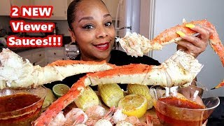 GIANT KING CRAB LEGS SEAFOOD BOIL + 2 NEW SAUCES!!