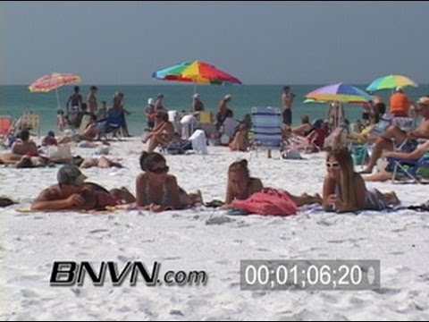 3/30/2006 Siesta Key Beach Spring Break News B-Roll Video