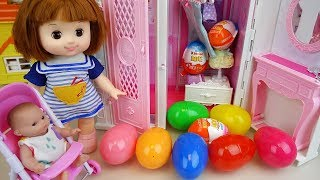 Baby doll key house Surprise eggs and Kinder joy toys play